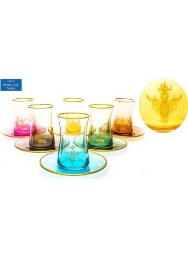 Paşabahçe Heybeli Face 12 Parça Renkli Çay Seti Renkli